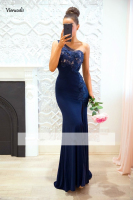 Navy Blue 2019 Cheap Bridesmaid Dresses Mermaid One shoulder Lace Beaded Long Wedding Party Dresses