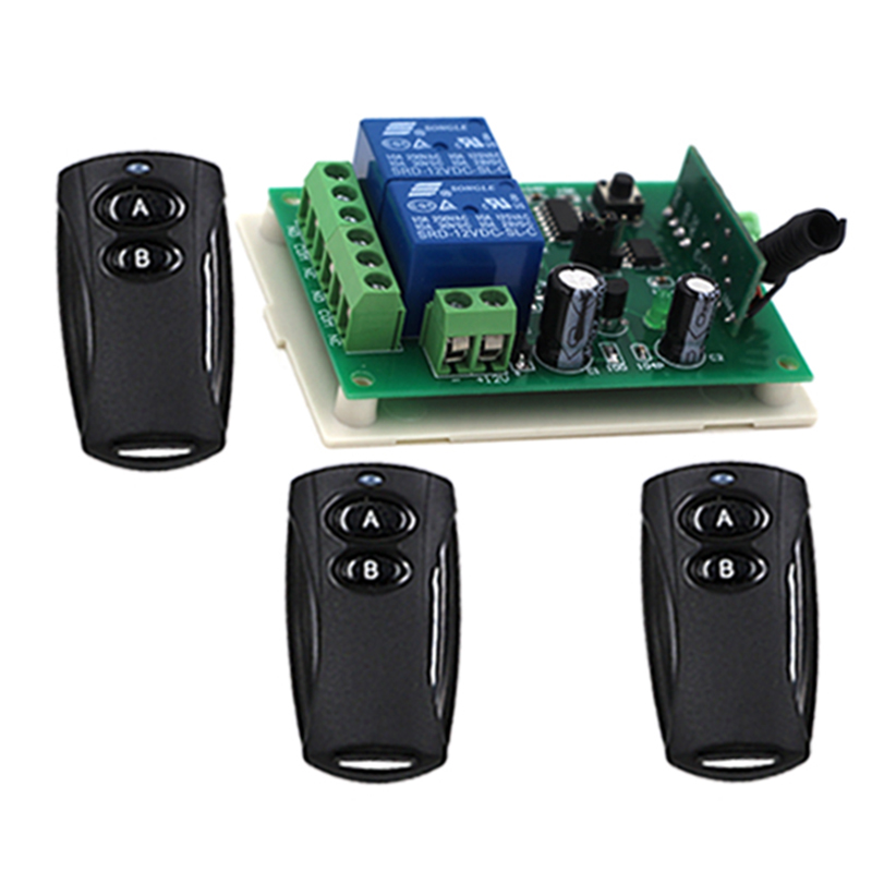 DC 12v 2CH 2 channel wireless RF Remote Control Switch 3 Transmitter and 1 Receiver for Wireless system 3312 high quality 1 2 3 channel wireless remote control switch digital remote control switch receiver transmitter