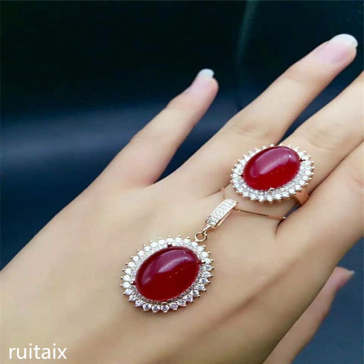 KJJEAXCMY boutique jewels 925 Pure silver inlay natural red jade medulla ring + pendant suit inlay diamond shaped 18k gold godde цена
