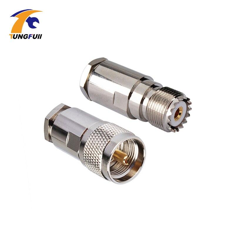 High Quality 2 Pairs UHF Male & Female PL259 Clamp RG8 RG165 RG213 LMR400 connector ss 23e08 rg8