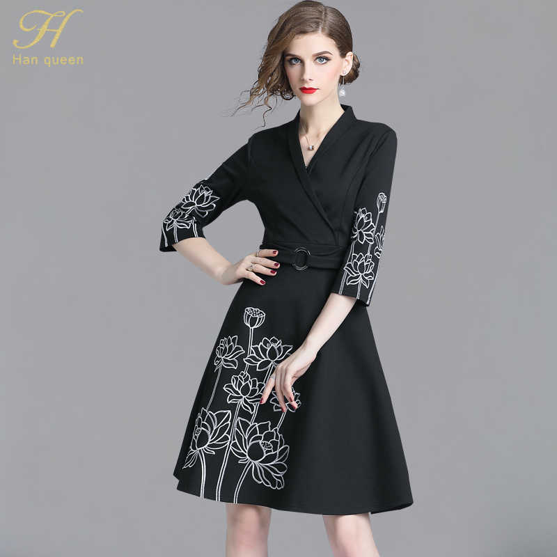 H Han Queen New 2018 Black Autumn Dress Women Floral Embroidery OL Vestidos  Work Casual Slim ff74e738bfbb