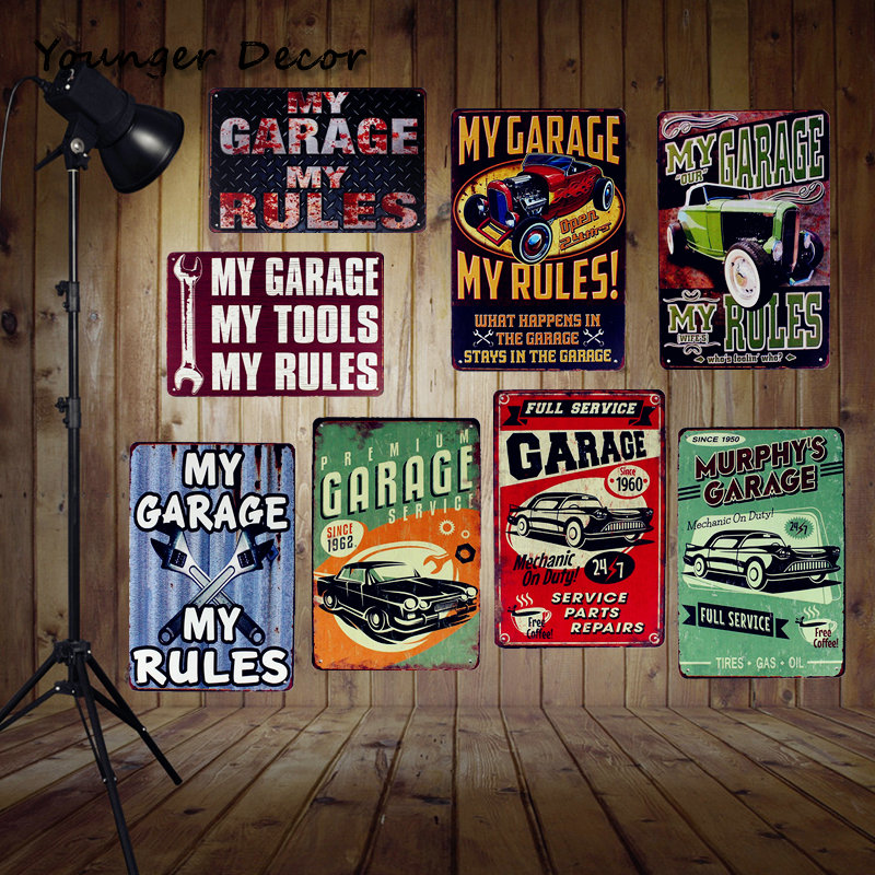 2019 My Garage Tools Rules Vintage Home Wall Decor Pub Bar House Car Gas Oil Retro Tin Poster Hanging Plate Metal Signs Ya100 From