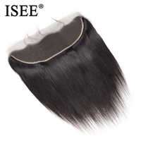ISEE HAIR Peruvian Straight Frontal Lace Closure 13*4 Ear to Ear Free Part Closure 130% Destiny Remy Human Hair Free Shipping