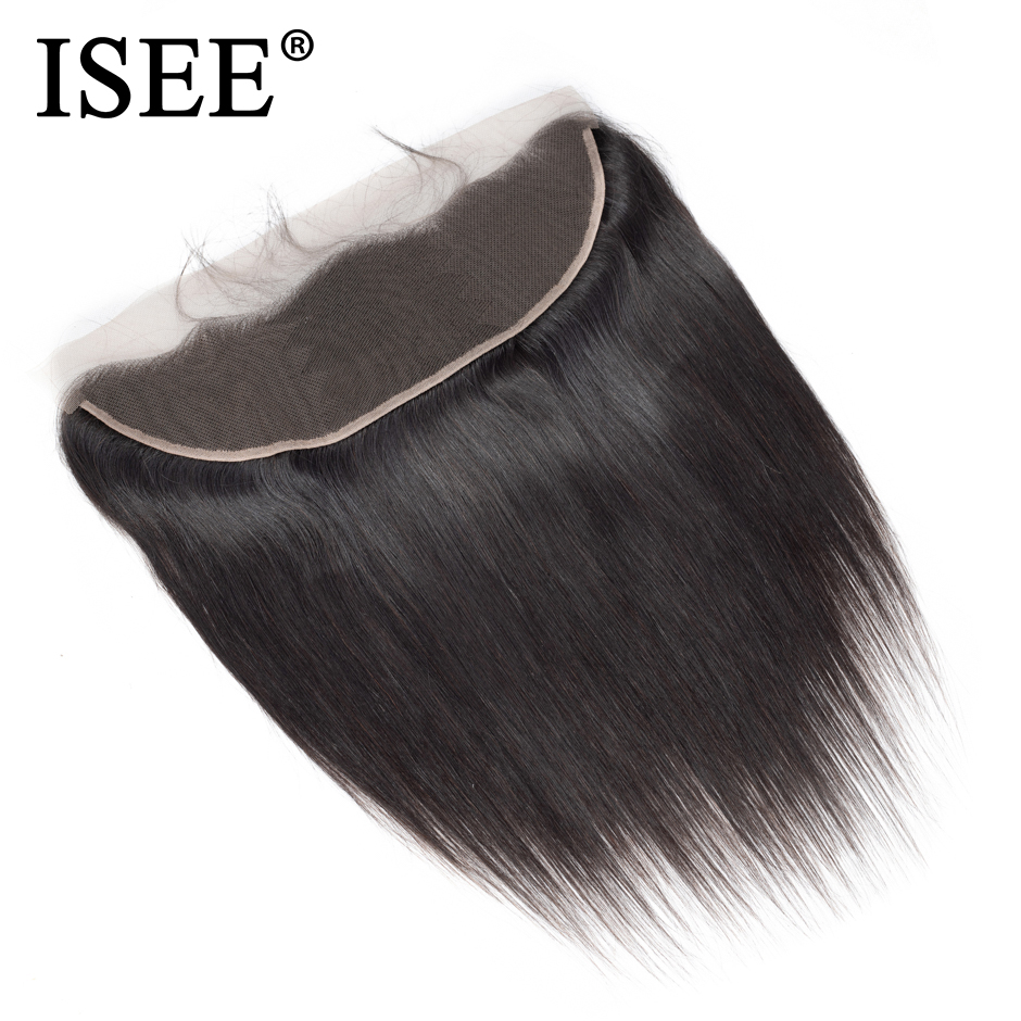 ISEE HAIR Peruvian Straight Frontal Lace Closure 13*4 Ear to Ear Free Part Closure 130%  ...