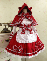 Anime Clothes Little Red Riding Hood Cosplay Costume Sweet Love Lolita Dress Gothic Retro Lace Maid Outfit Dress+Shawl H