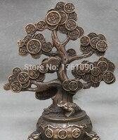 Xd 00512 Lucky Chinese Fengshui Geld Reichtum Baum Spittor Kröte Bronze Kupfer Statue-in Statuen & Skulpturen aus Heim und Garten bei