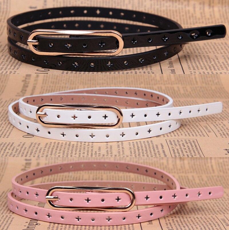 All-match fashion cutout decoration strap Women thin belt women's japanned leather belt female
