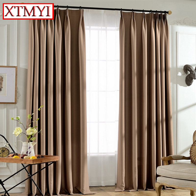 Solid Color Blackout Curtains For Living Room Gray Brown Modern Bedroom Window Kitchen