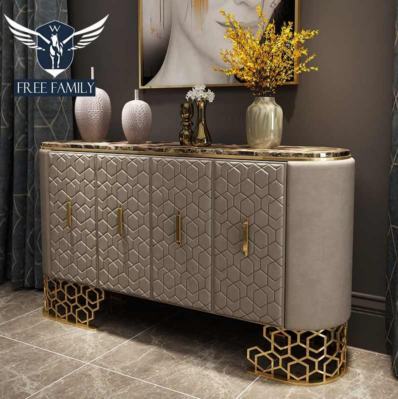 10pcs Pack 1 8m Long Console Table With Leather Upholstery Brown Marble Tabletop 80cm High Metal Frame Console Tables Aliexpress