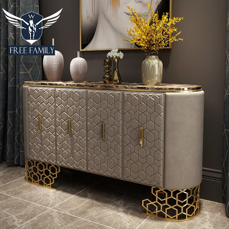 1.8m Long Console Table With Leather Upholstery / Brown Marble Tabletop / 80cm High Metal Frame