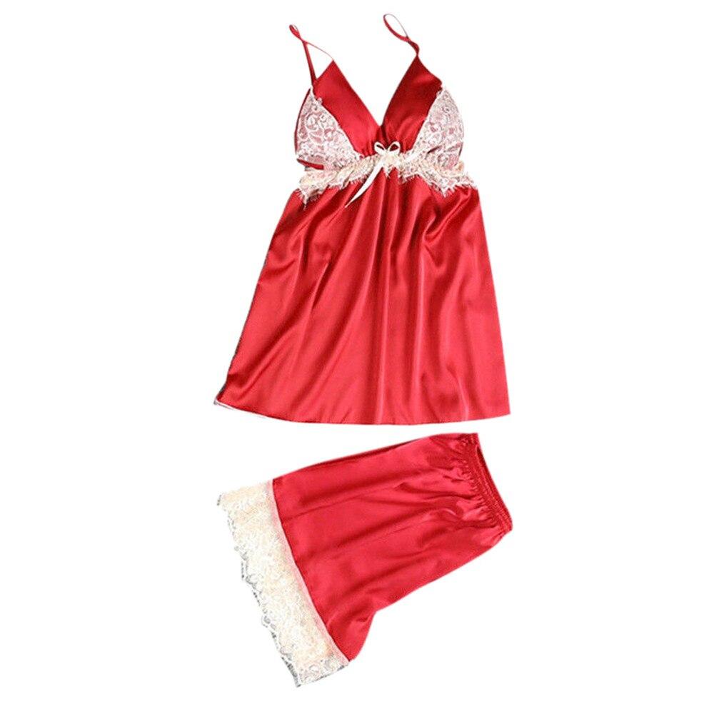 Sale Womens Pajamas Sexy Satin Sling Sleepwear Lingerie Lace Bowknot Nightdress Underwear Pyjama Sexy Femme#4