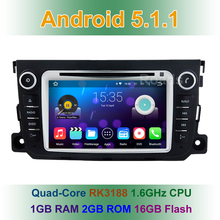 Quad Core 1024X600 Android 5.1 Car DVD Player Radio for Benz smart fortwo 2011 2012 2013 2014 with WIFI GPS USB Bluetooth
