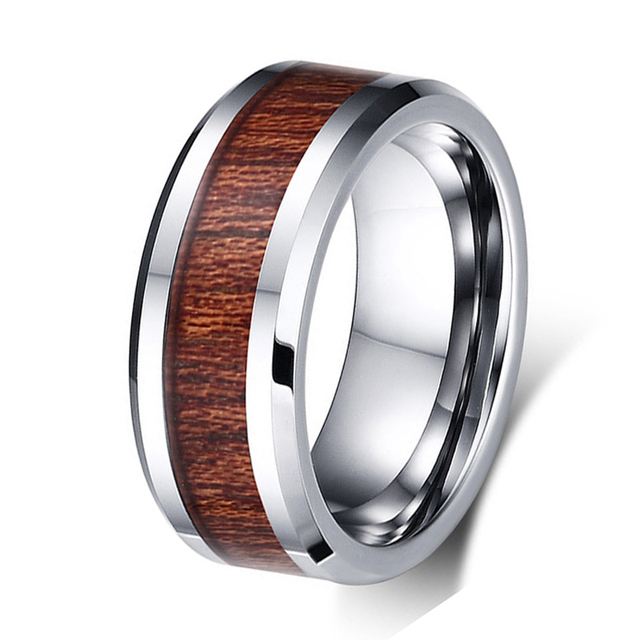 8MM Tungsten Carbide Ring Koa Wood Inlay Wedding Band Ring For Men Women Standard USA Size High Polished Finish Comfort Fit