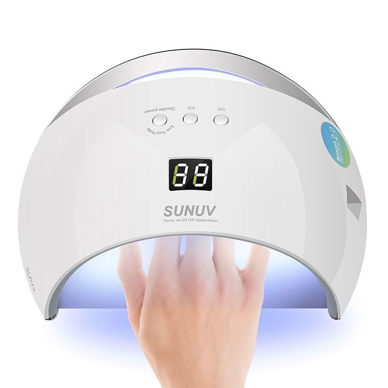 SUNUV SUN6 Smart Lamp Nail LED UV Lamp Dryer Metal Bottom LCD Timer Multicolors for Curing UV Gel Polish Nail Art Tools sunuv sun6 uv led nail dryer lamp 48w smart 2 0 low heat uv lamp for manicure curing nails gel polish
