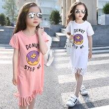 child's 2016 new summer dress in a short sleeved cotton girl straight tassel T-shirt