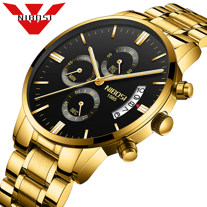 267398b19f2 NIBOSI Golden Luxury Business Watches Chronograph Auto Date Waterproof Stop  Watch Male Stainless Steel Quartz Wrist