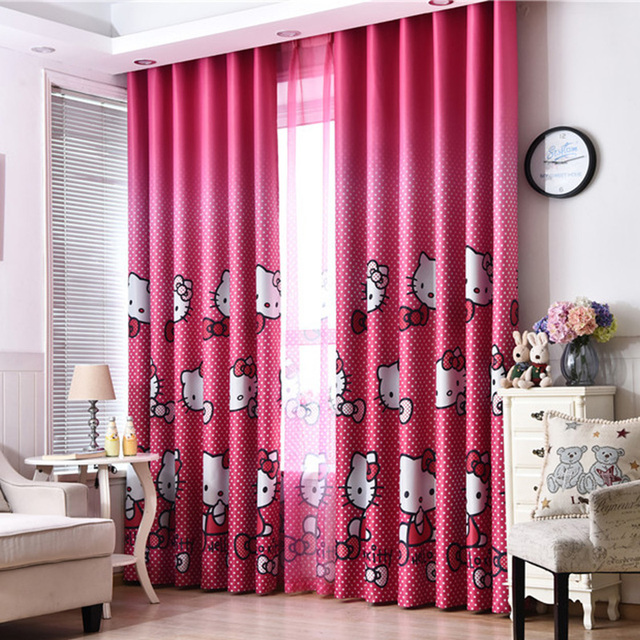 Cute Curtains For Living Room Grey Couch Idea Hello Kitty Cartoon Printed Kids Baby Children Bedroom Curtain Drapes Panel Window Treatments