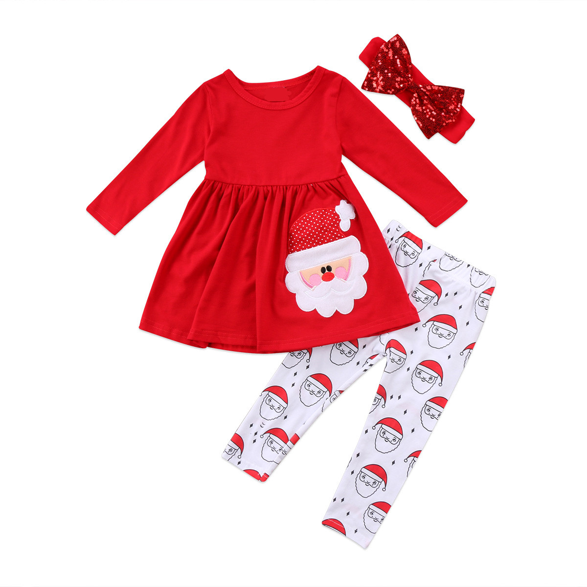 Toddler Kids Baby Girl Christmas Santa Clothes Romper Dress