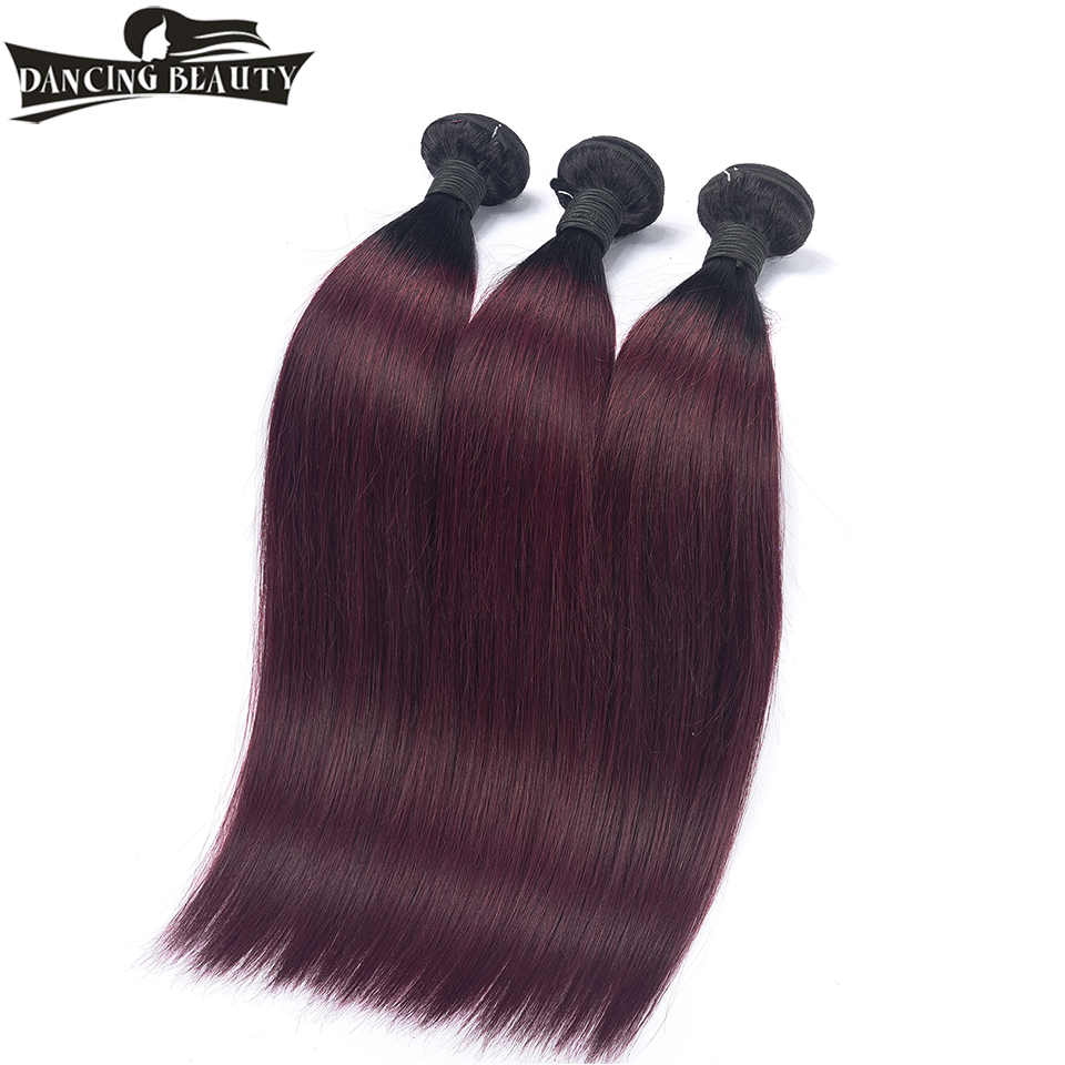 DANCING BEAUTY Pre Colored Burgundy Brazilian Straight Hair Ombre Human Hair Weave Bundles Two Tone 1b 99J 100g/pc Remy Hair
