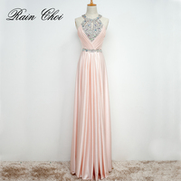 Free Shipping Floor Length Satin Long Formal Evening Dresses Prom Gown Wedding Party Dress Long Evening