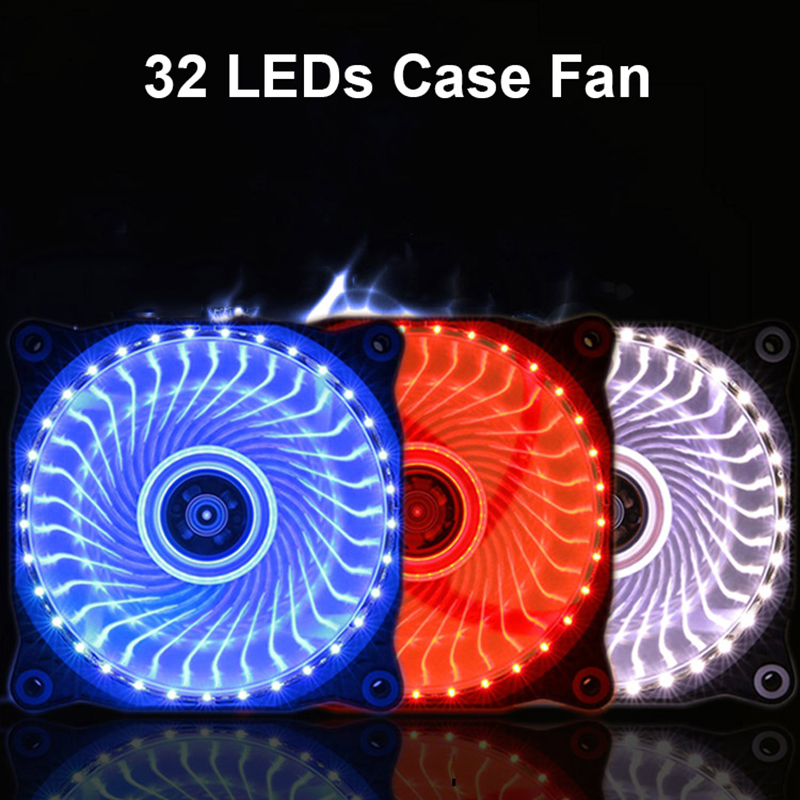 120mm Ultra Silent 32 LEDs Case Fan Heatsink Cooler Cooling for PC Computer w/ Anti-Vibration Rubber,12CM Fan by 12V DC 3P sleeve bearing 120mm case fan heatsink cooler cooling for pc computer radiators 12cm fan power by 12vdc 3pin ide molex 4pin