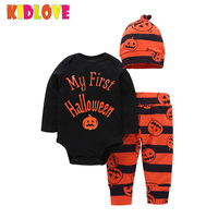 KIDLOVE Halloween Pumpkin Newborn Clothing Set Baby Letters Printed Rompers Pants Hat 3pcs Suit Outfits For