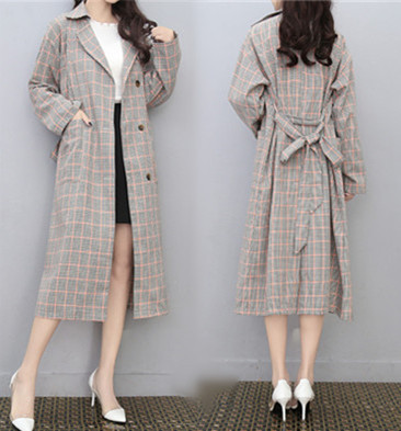 Plus Size 4xl Women's Windbreaker Plaid   Trench   Coat For Women Coat Female Coat Casaco Raincoat Long Wind Coats Outwear
