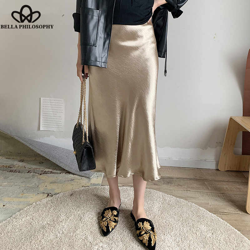 813a5d7c46 Wonder Summer glossy satin trumpet Skirts high waist skirt Silver gold midi  skirt Metallic Color party