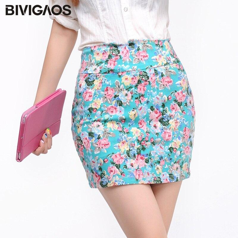 BIVIGAOS Summer Women Korean Sexy Mini Skirt Stretch Woven Print Flowers Pencil Skirt Short Skirts Push Up Hips Skirts Womens