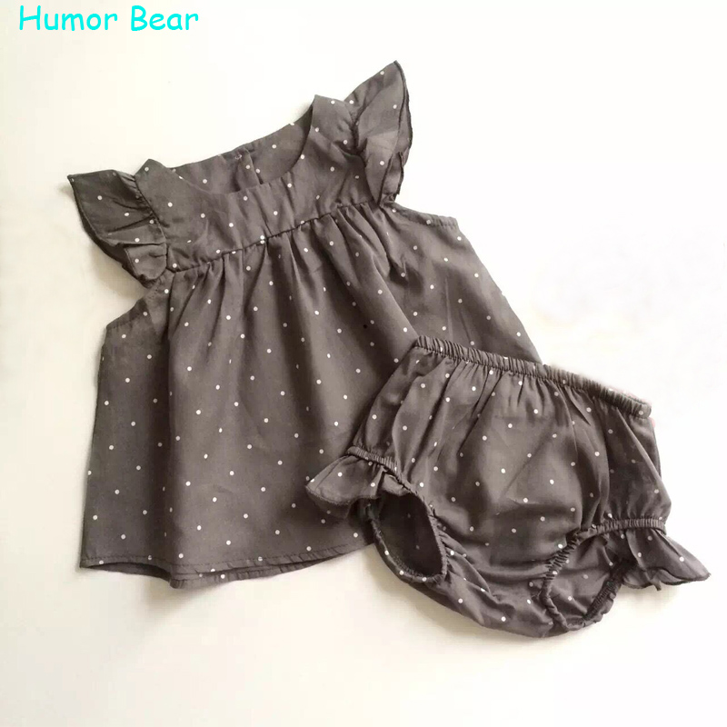 Humor Bear 2016 Fashion Summer Style DOT Baby Girl Clothes COTTON Clothing Set Baby Clothing