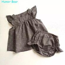 Humor Bear/Мода 2016 года Летний стиль в горошек для маленьких девочек одежда хлопок Костюмы комплект Одежда для малышей