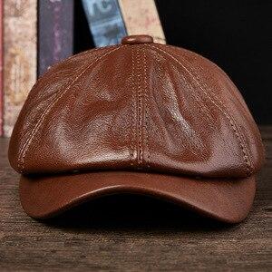Мужские кепки с козырьком, ковбойская Кепка из натуральной кожи, теплые шапки для взрослых на осень и зиму, Студенческая Мода, кепка с восьми...