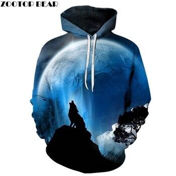Moon Wolf Hoodies 3D marca Hoodies hombres sudaderas moda pulóver Casual chándal 6XL calidad Cool Chaqueta Hombre Abrigos impresos