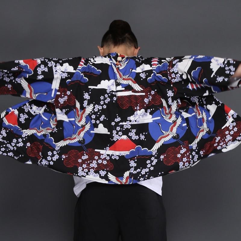 100% Kwaliteit Haori Yukata Mannen Japanse Kimono Vest Mannen Samurai Kostuum Mannelijke Heren Kimono Shirt Jasje Japanse Yukata Haori Kk2421