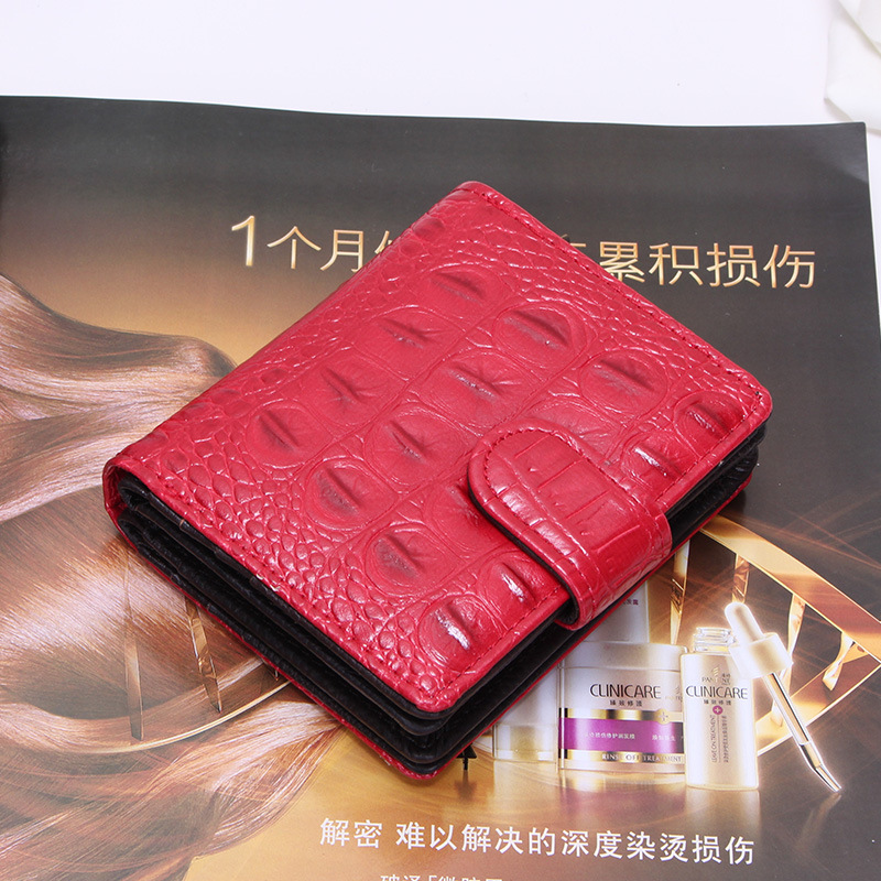 Fashion Women Genuine Leather Bag Alligator Cowhide Wallet Zipper Hasp Card Money Holder Clutch Purse Short Wallets Pocket new fashion women leather wallet deer head hasp clutch card holder purse zero wallet bag ladies casual long design wallets