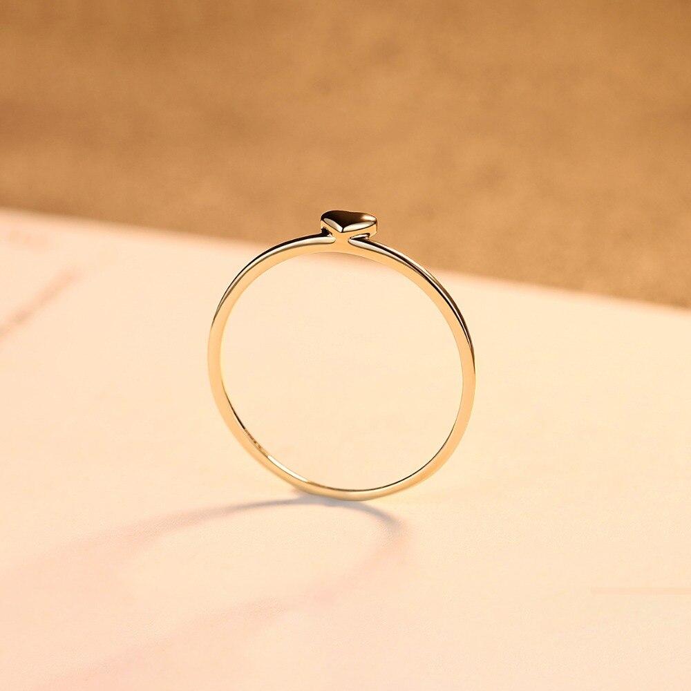 LUOTEEMI, нежное милое Золотое кольцо на палец в форме сердца для женщин, обручальные кольца для невесты, хорошее ювелирное изделие, подарок на Рождество - 5