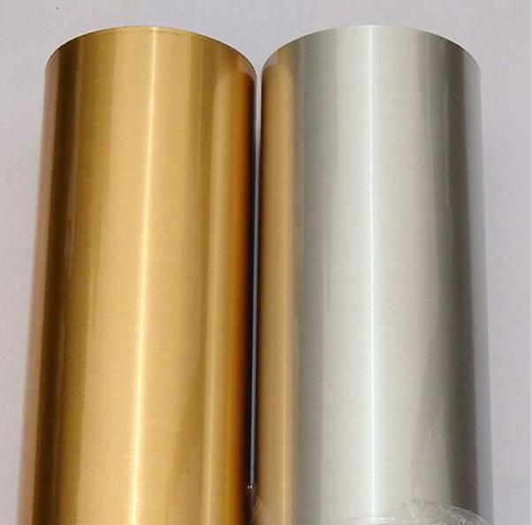 Brushed metallic silver gold film self adhesive stainless for Gold self adhesive wallpaper