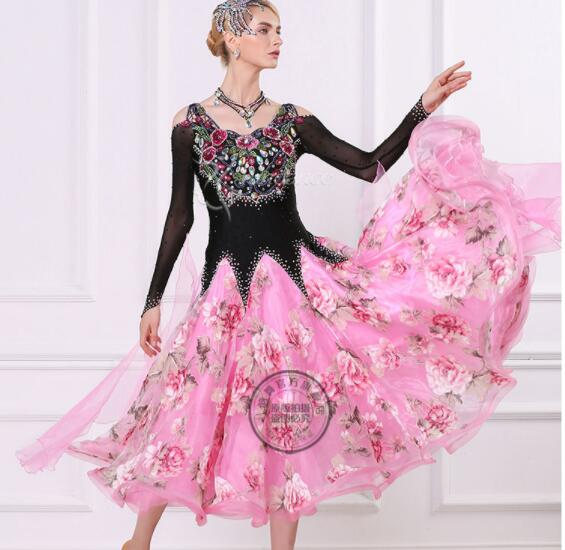 Black pink with flower print customize custom  standard ballroom Waltz tango Fox trot Quick step Ballroom competition Dress