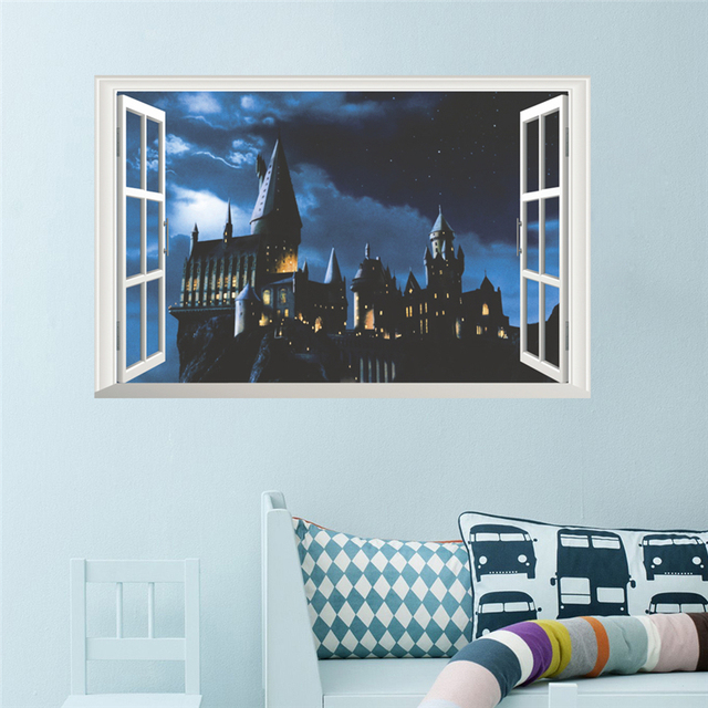 3d hogwarts school castle window wall stickers for kids rooms home