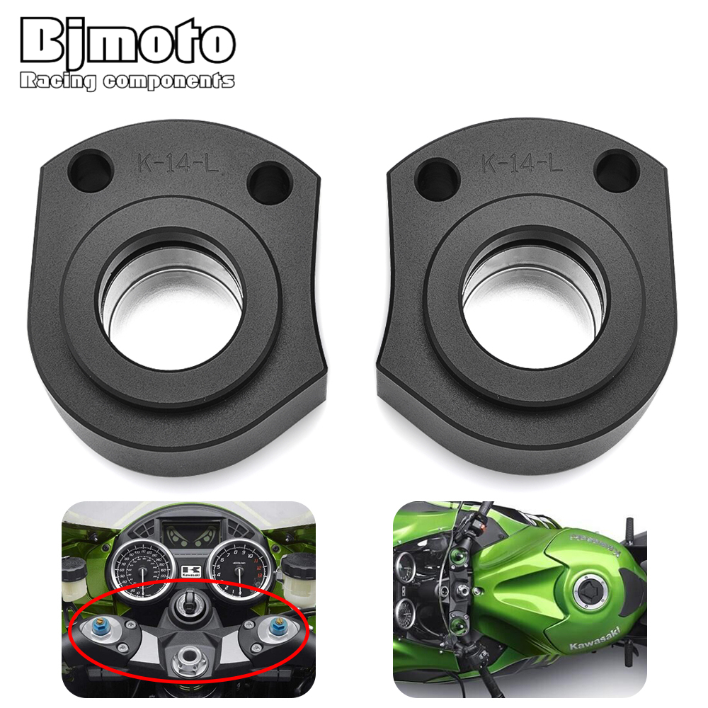BJMOTO CNC Motorcycle Drag Handle Bar Clamps Handlebar Extension Riser Height up Adapters For KAWASAKI ZX