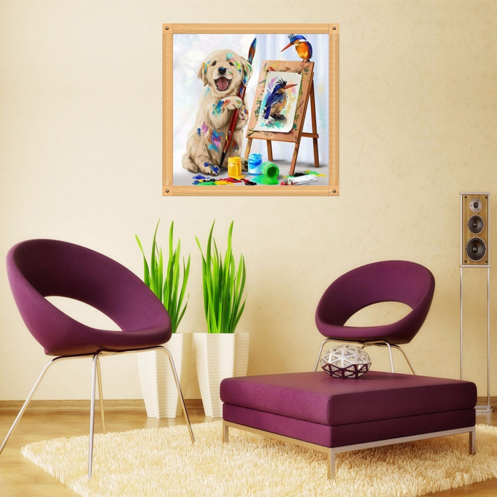 Dog DIY 5D Round Full Drill Diamond Painting Embroidery Cross Stitch Kit Rhinestone Home Decor Craft Christmas Gifts in Diamond Painting Cross Stitch from Home Garden