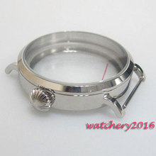 46mm Parnis Round hardened Watch Case fit 6497 6498 Mechancial hand winding Polished Stainless steel Watch Case