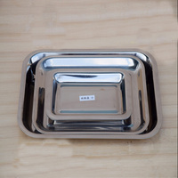 3 Pieces Per Set Thicker Stainless Steel Barbecue Dishes Creative Kitchen Accessories Rectangle Storage Tray Set Free Shipping