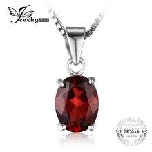 Jewelrypalace 2.5ct ovalado natural rojo granate birthstone solitario collar colgante esterlina del sólido 925 de plata 45 cm de cadena para las mujeres