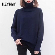HZYRMY Autumn Winter New Women's Cashmere Sweater Loose Large size High Collar Wool knitted pullovers Solid Color Short Sweaters цена и фото