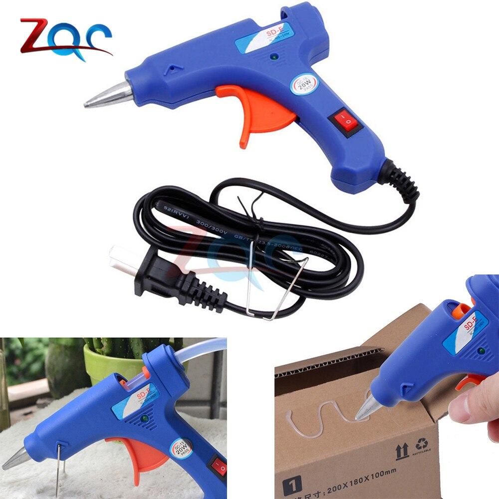 20W Mini Electric Heating Hot Melt Glue Gun High Temp Heater Melt Repair Tool Heat Gun Blue Mini Gun US Plug