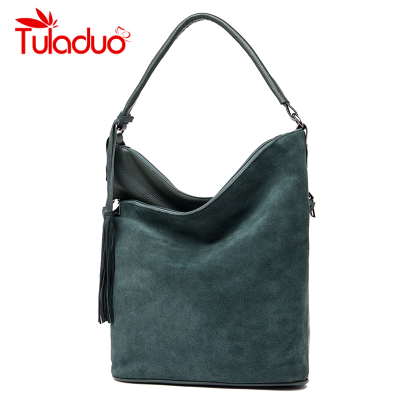 Real Split Suede Bag Women Messenger Bags Bucket Shoulder Bag Ladies Hobos Tassel Top-handle Bags Handbags Women Famous Brands недорго, оригинальная цена