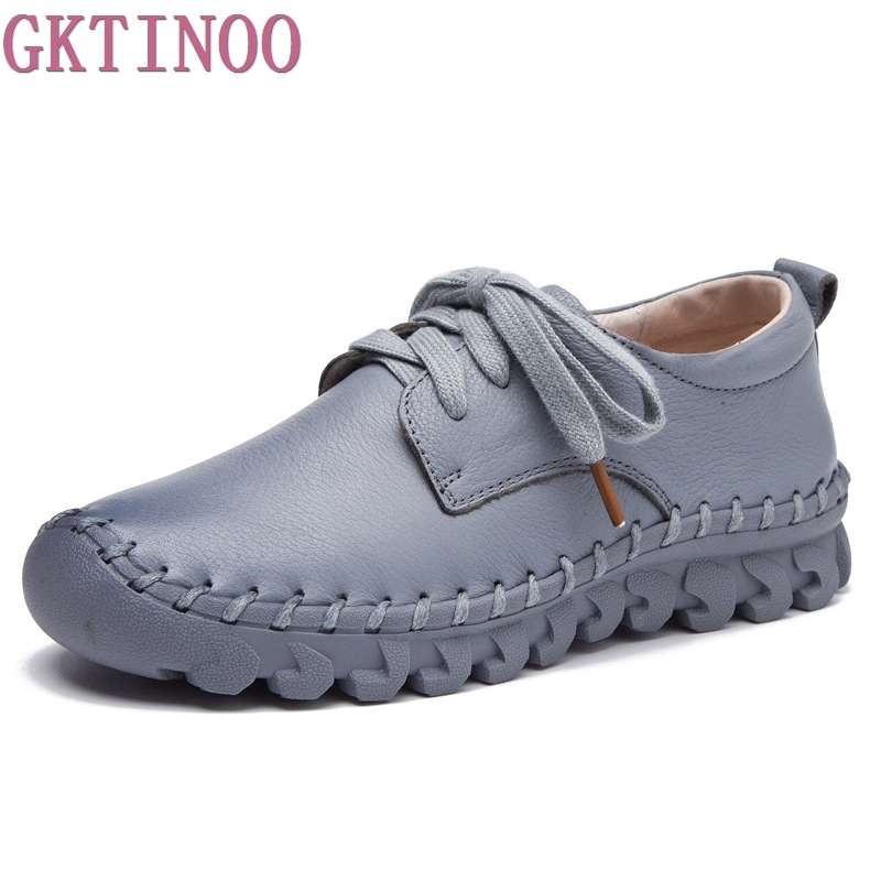 2019 Spring Handmade Genuine Leather Flat Shoes Female Casual Shoes Women Flats Woman Lace Up Driving