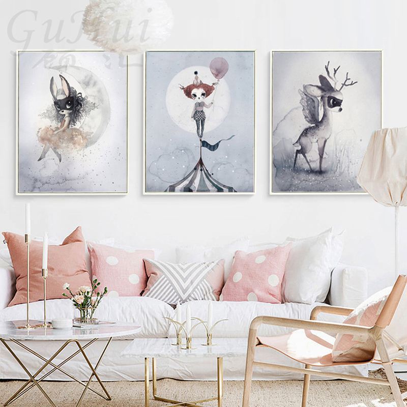 acheter nordique masque lapin fille sur lune ange de bande dessin e toile. Black Bedroom Furniture Sets. Home Design Ideas