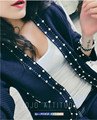 2016 весна/осень дизайнер куб. см бренд женщин трикотажные шерстяные куртки тонкий верхняя одежда жемчужный бисера Vneck кардиган взлетно-посадочной полосы высокой-конец